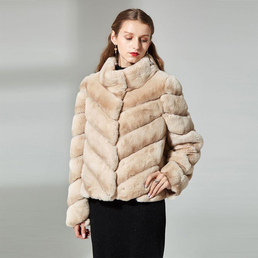 rex rabbit natural fur coat women stand collar striped winter high-quality real rabbit coat fur jacket overcoat short
