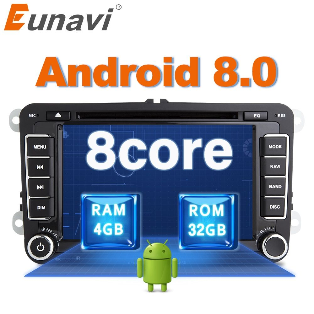 Eunavi Octa 8 Core Android 8.0 2 Din Car dvd player For VW GOLF JETTA POLO TOURAM PASSAT B6 GPS Navi Stereo Radio USB WIFI DAB+
