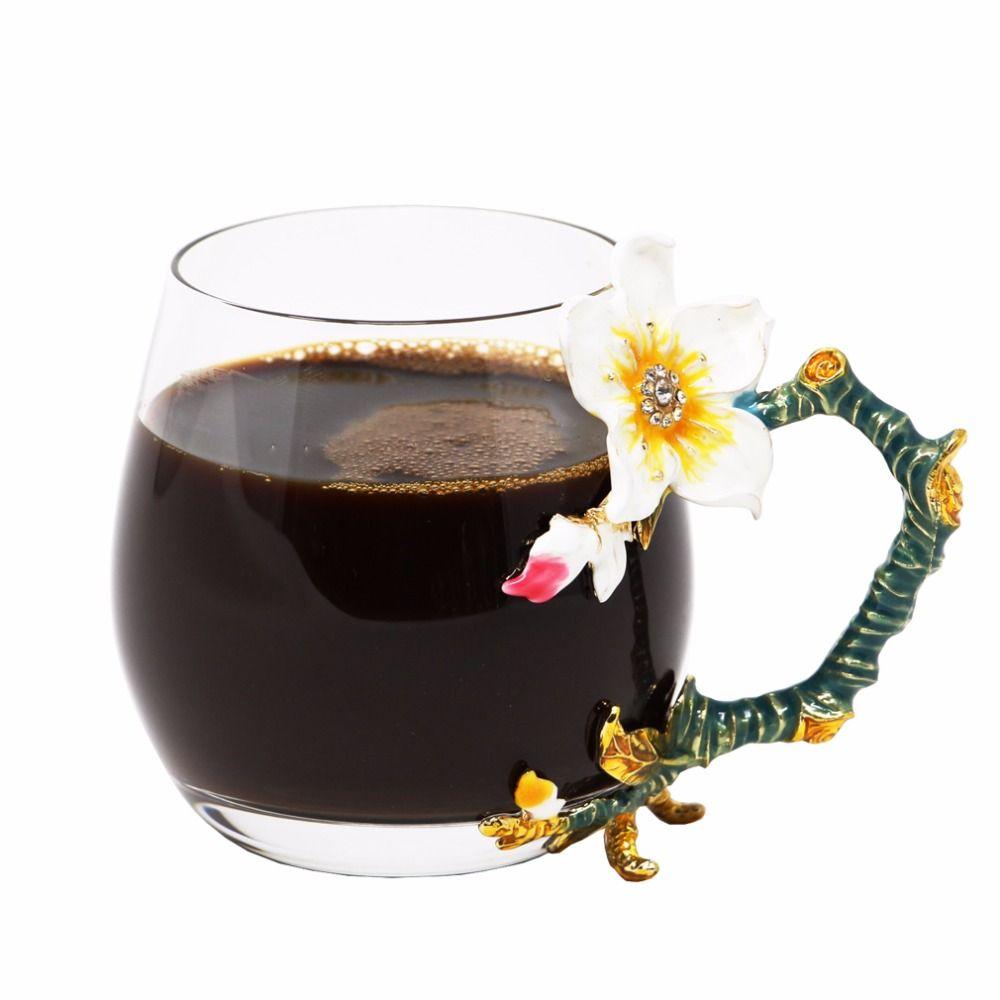 Tasses à café originales KEYTREND tasses en verre de qualité supérieure avec poignée Unique en émail, tailles courtes et grandes disponibles AECL092