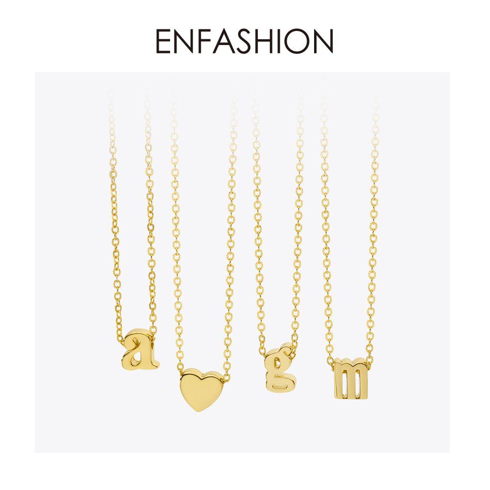 Enfashion petite lettre colliers pendentifs Alphabet Collier Initial couleur or Collier ras du cou pour femmes bijoux Kolye Collier