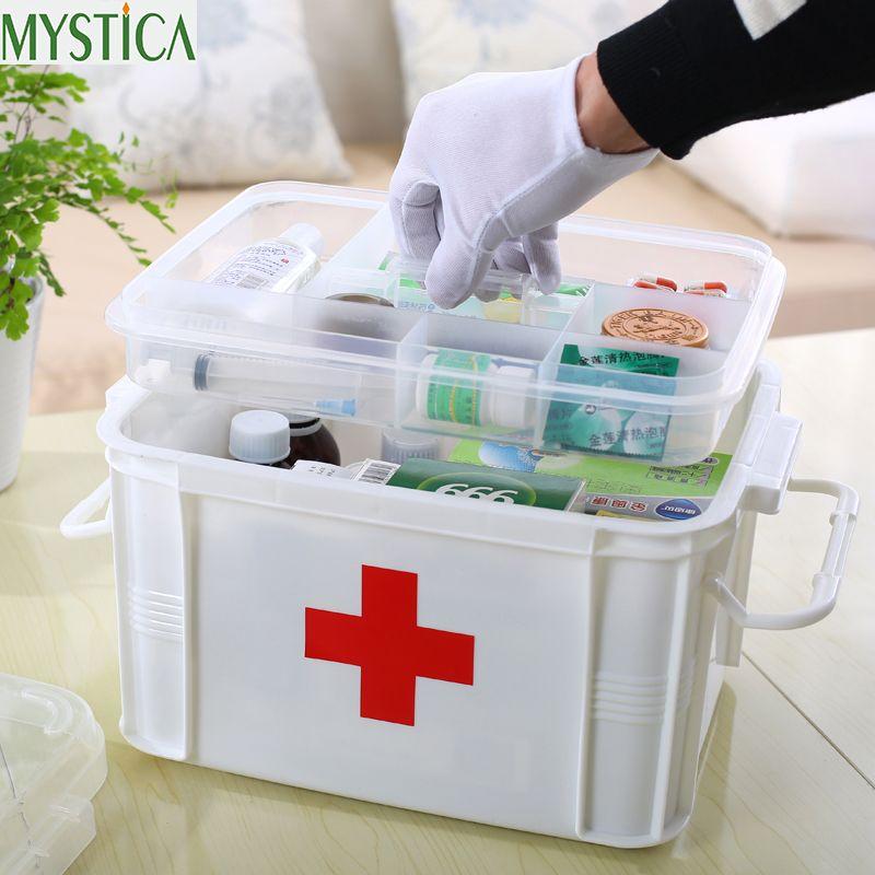 1 UNIDS multicapa Gran Familia botiquín de Primeros Auxilios Caja de La Medicina Caja de Almacenamiento de Plástico Médica Médica Drogas Organizador Del Encuentro cajas