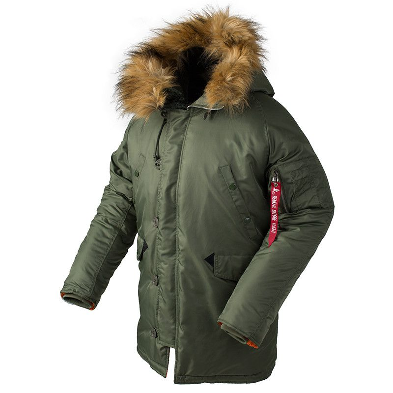2018 Winter N3B puffer jacket men long canada coat military fur hood warm trench camouflage tactical bomber army korean parka