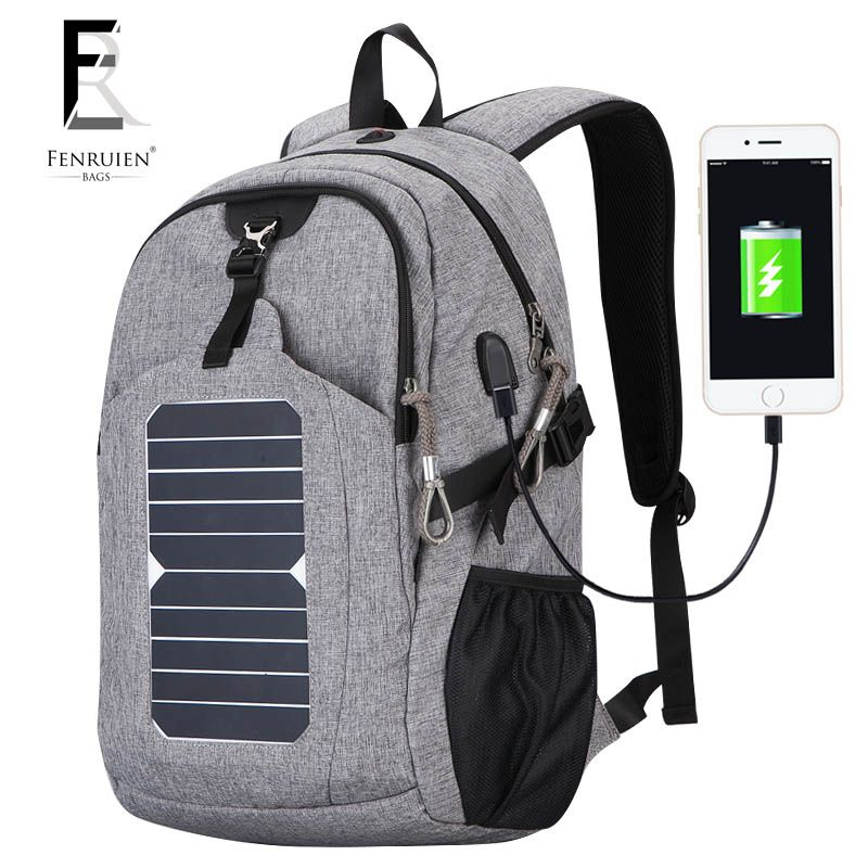 2018 Casual Nylon Solar Powered Backpack for Men 25L Fashion USB Charger Knapsack Anti theft Multifunction Laptop Backpack Women