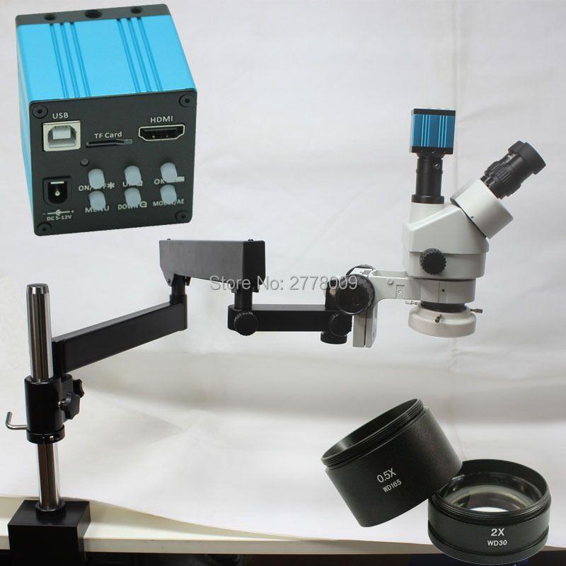 3.5X-90X Trinocular Articulating Arm Pillar Clamp Zoom Stereo Microscope+16MP 1080P HDMI USB Industrial Camera+144 LED Light