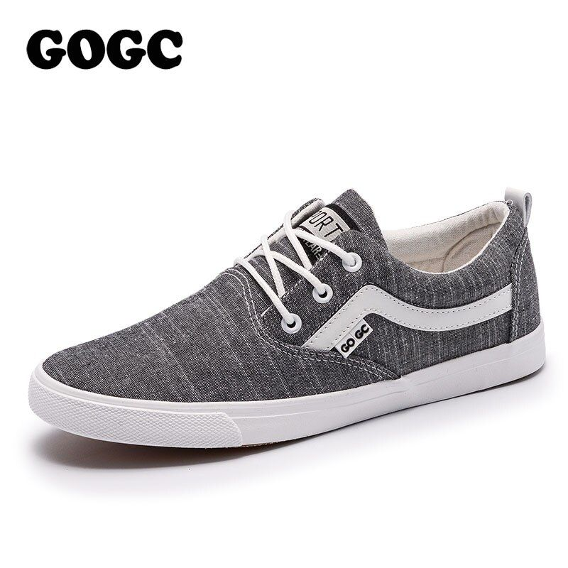 GOGC 2018 New Casual Shoes Men Sneakers Big Size Canvas Shoes Men Comfortable Flat Shoes Lace-Up Vulcanized Shoes Men Loafers