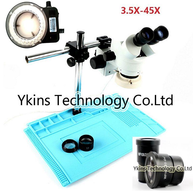 HD 3.5X-45X or 7-45X Binocular Stereo Microscope 10X Eyepiece + 56 LED Lamp + Large Stand + Big Bottom Insulation Work Mat Kit