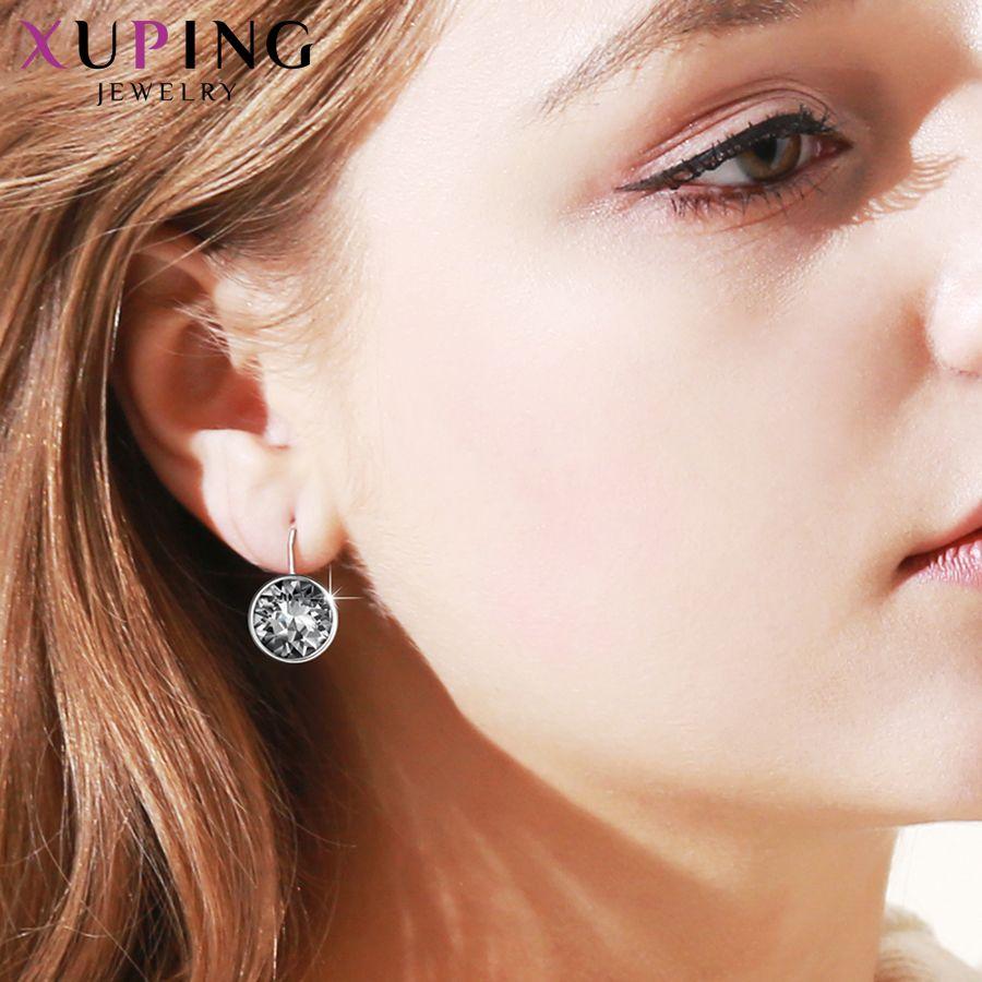 Xuping mode cristaux de Swarovski coloré boucles d'oreilles avec Rhodium couleur plaqué charme pour les femmes bijoux cadeau XE2189
