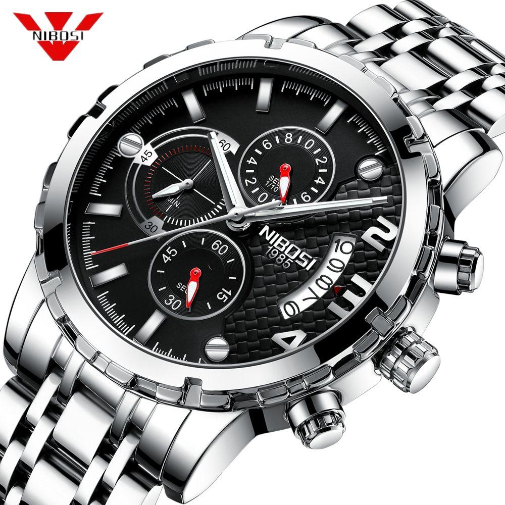 NIBOSI Reloj Hombre 2018 Mens Montres Haut Marque De Luxe Chronographe Sport Montre Hommes Étanche Militaire Horloge Relogio Masculino