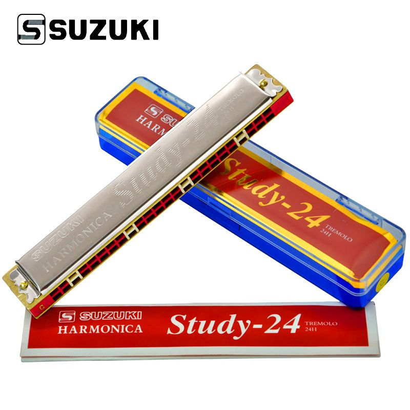 Suzuki 24 trou Harmonica clé de C Tremolo Folk maître Harmonica 24 trou débutant jouant le ton polyphonique