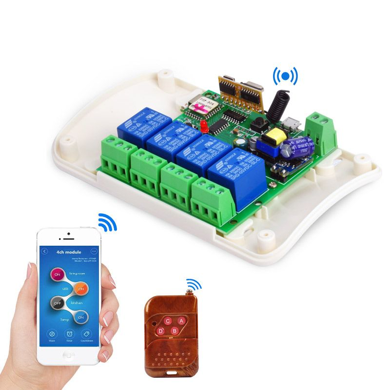AC85-250V/7-32V Home Automation Modules Jog Inching WIFI Wireless Smart Switch Relay rf receive 433mhz Remote Control 4ch
