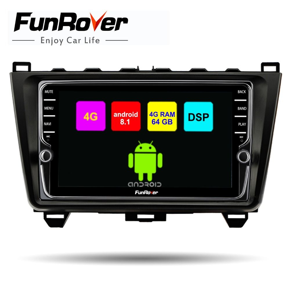 Funrover 8 cores android 8.1 car multimedia player For Mazda 6 2008-15 2 din car dvd gps radio navigation stereo 4G+64G DSP WIFI