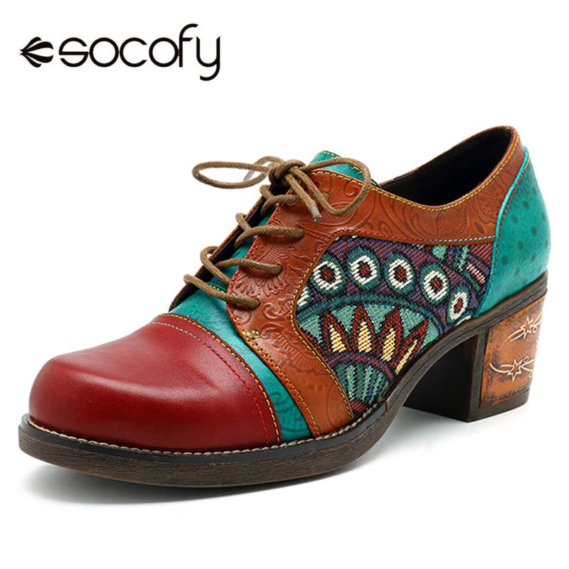 Socofy Bohemian Patchwork Ankle Pumps Women Shoes Classic Vintage Genuine Leather Shoes Spring Lace Up Plus Size Block Heels New