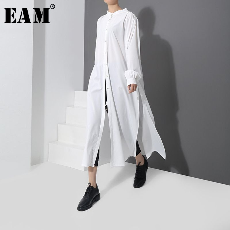 [EAM] 2019 Spring New Fashion New Pattern Long Type Side Vent Button Shirt Long Sleeve Temperament Blouse Women YC170