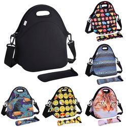 Coofit bolsa de almuerzo de neopreno para las mujeres búho gato emoji Cara patrón Bolsas para comida picnic bolso con Vajilla bolsillo niños snacks