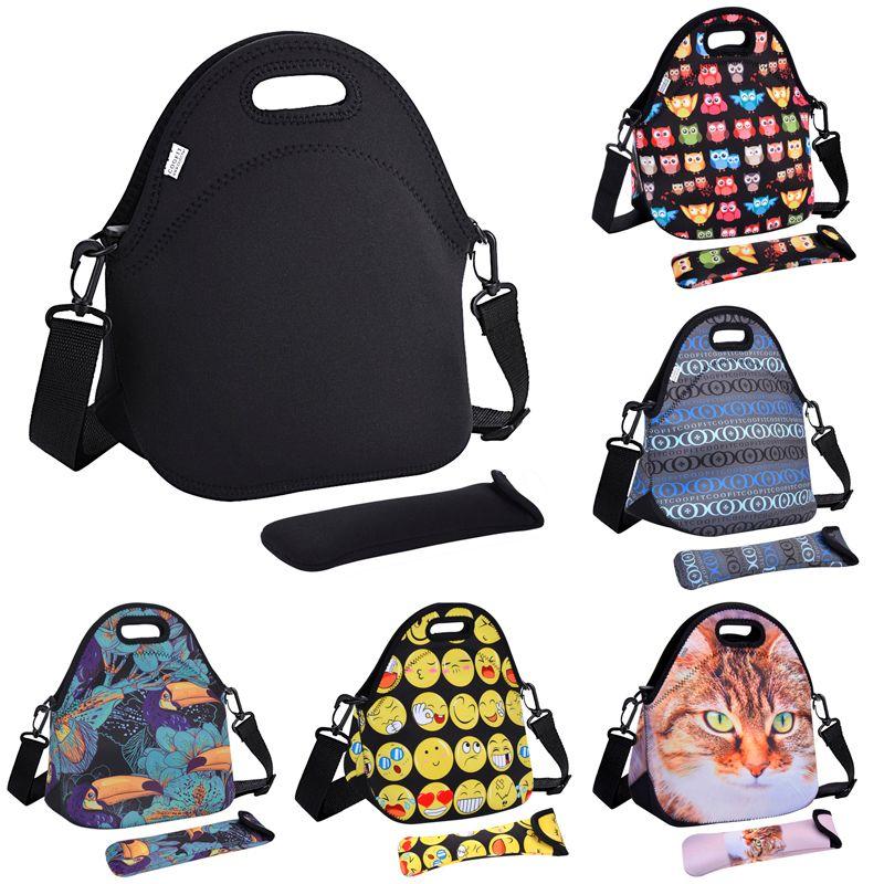 Sac à Lunch en néoprène Coofit pour femmes hibou chat Emoji Face motif sacs à Lunch sac à main pique-nique avec vaisselle poche enfants collations