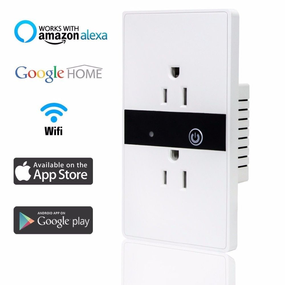 Smart WiFi Wall Socket Outlet,Wireless In-Wall Light Switch Plate Socket Timing  Works With Amazon Alexa Google Home