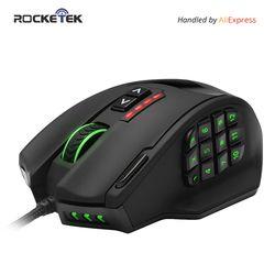 Rocketek USB wired Gaming Maus 16400 DPI 19 tasten laser programmierbare spiel mäuse mit hintergrundbeleuchtung ergonomische für laptop computer