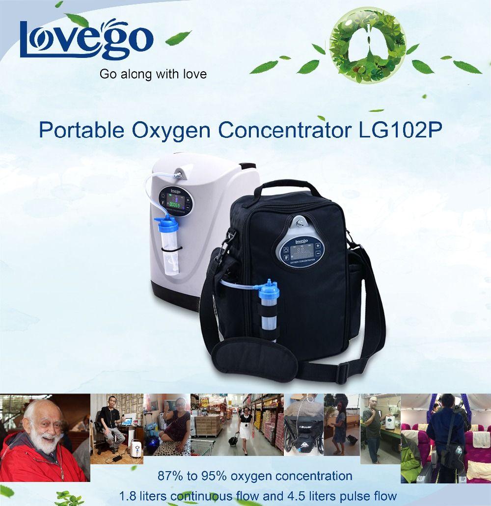 Neueste 4 stunden mini tragbare sauerstoff konzentrator Lovego G2 mit Niedrigen Sauerstoff Alarm für 1-4,5 liter sauerstoff therapie