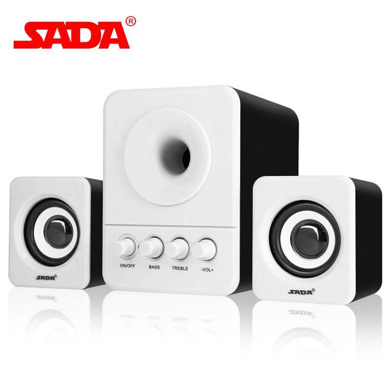 SADA D-203 USB2.1 & 3.5mm Audio Interface Stereo Subwoofer Audio Portable Speaker For Computer Desktop Laptop