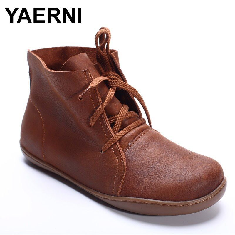 YAERNI (35-42)Women Ankle Boots Hand-made Genuine Leather Woman Boots Spring Autumn Square Toe lace up Shoes Female Footwear