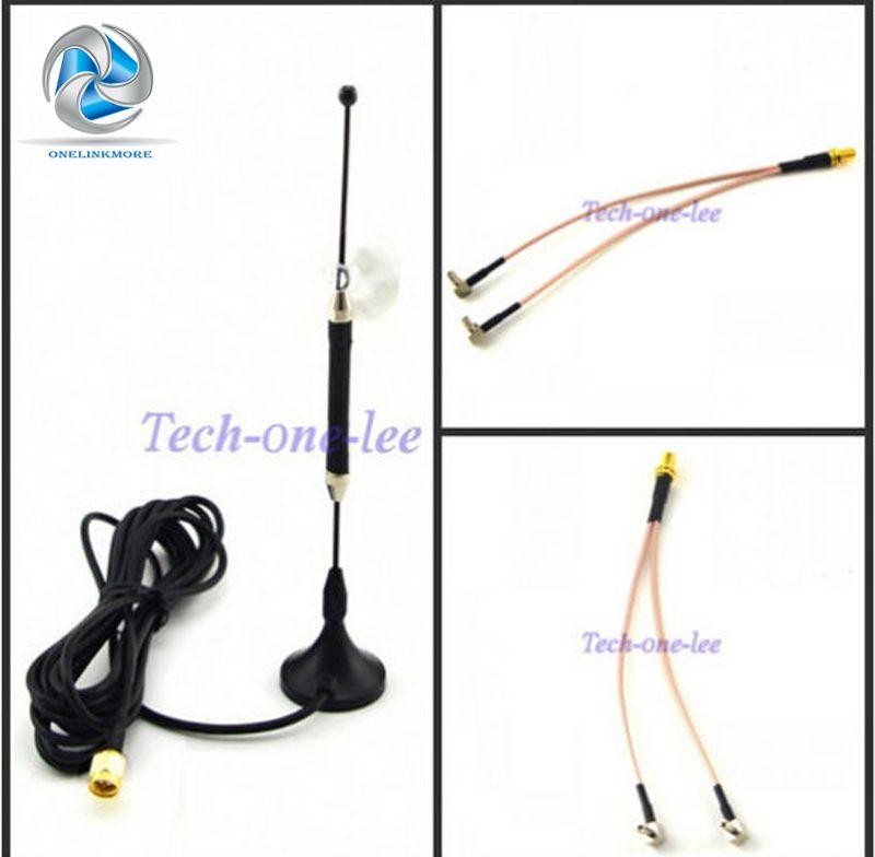 10dBi 4G Antenne SMA Plug 696-960 MHz/1710-2690 MHz Longue Portée RG174 3 M + SMA Femelle à Y type 2 X TS9 Mâle RG316 Câble 15 cm