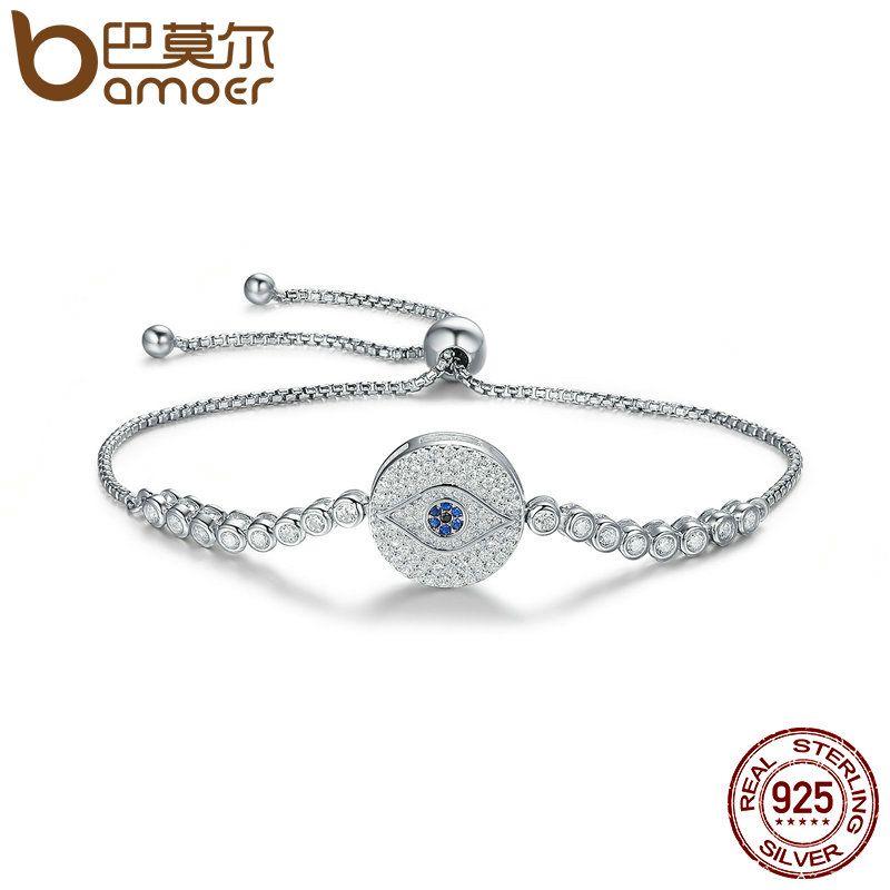 BAMOER Real 100% 925 Sterling Silver Blue Eye Tennis Bracelet for Women Adjustable Chain Bracelet Sterling Silver Jewelry SCB038