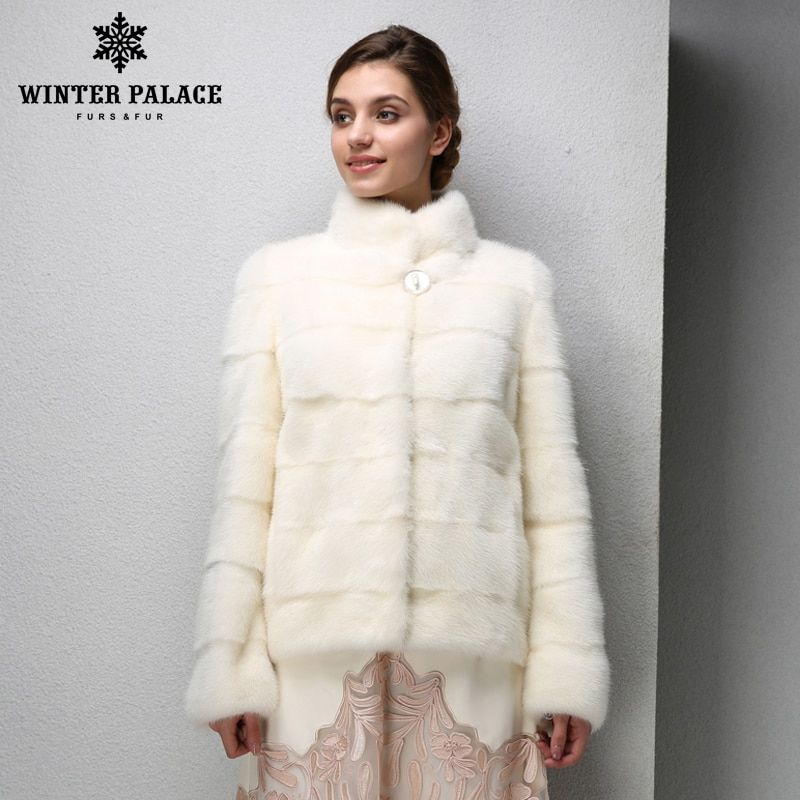 2016 Best-selling fashion mink coats,Genuine Leather,Mandarin Collar,Warm white mink coat,Young women mink fur coat