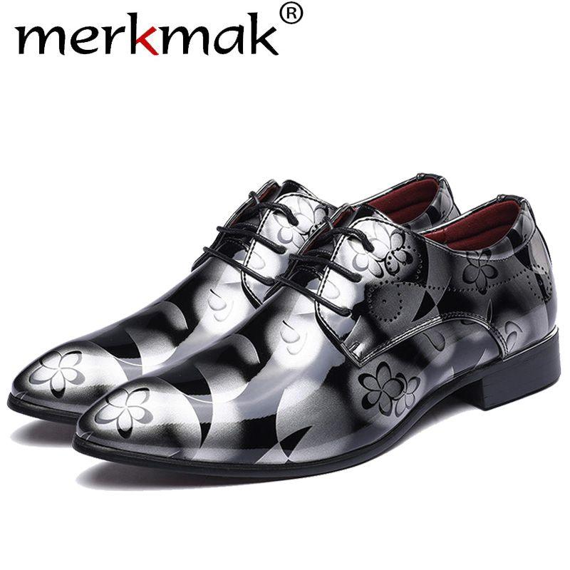 Merkmak Big Size 37-48 Fashion Men Dress Wedding Shoes Round Toe Man Flats Business Leather British Lace-up Footwear Shoes
