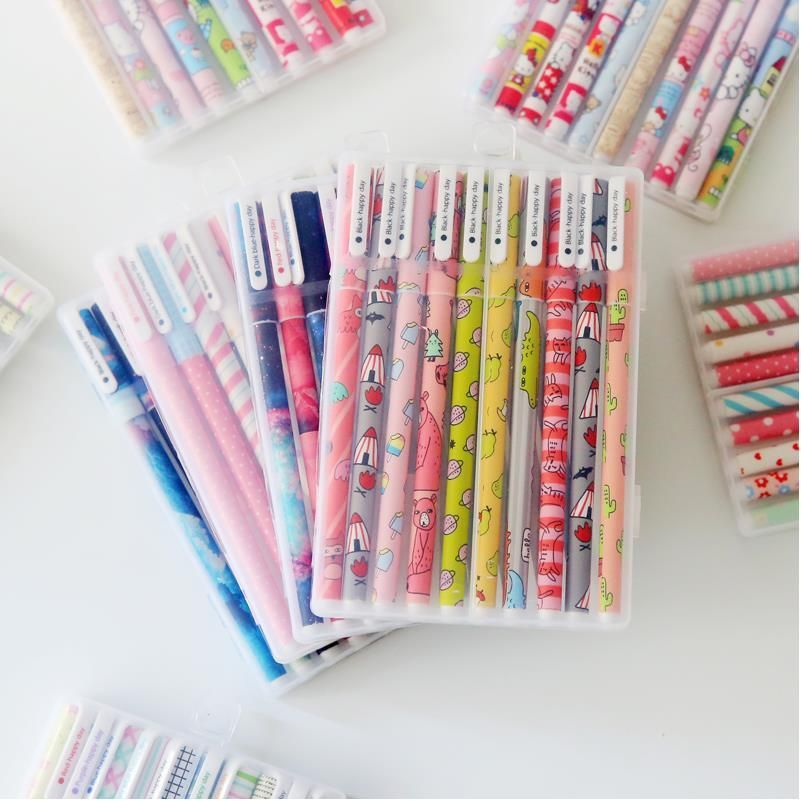 10pcs 6pcs kawaii flower colorful Chancery gel pen papelaria office school supplies stationary canetas coloridas color pen 04083