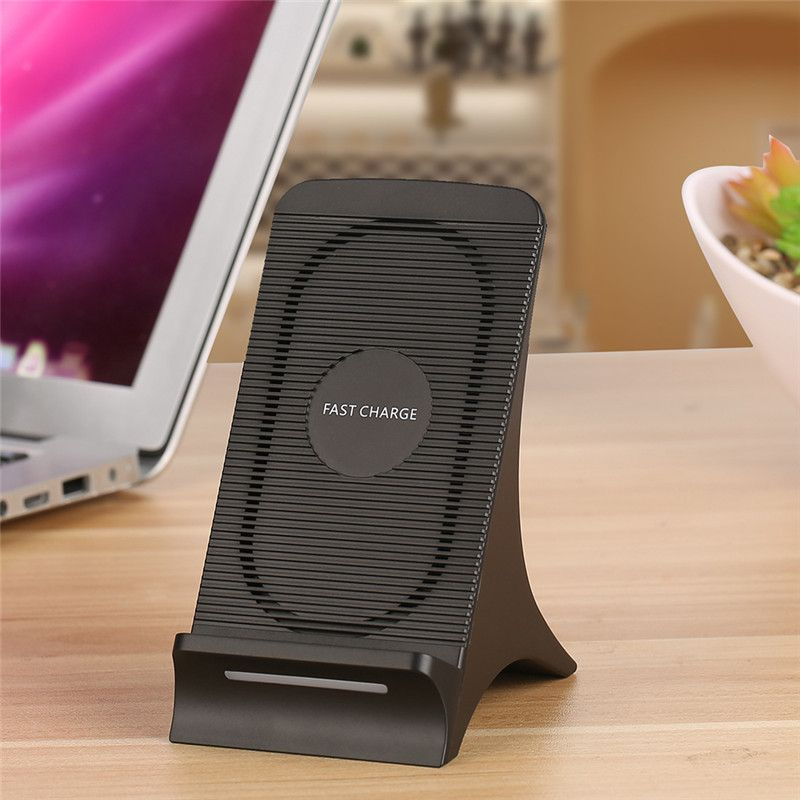 For Luxury S550 Fan Heat Dissipation Qi Wireless Fast Charger Universal Uptight Holder Transmitter for Samsung S8 Mobile Phone