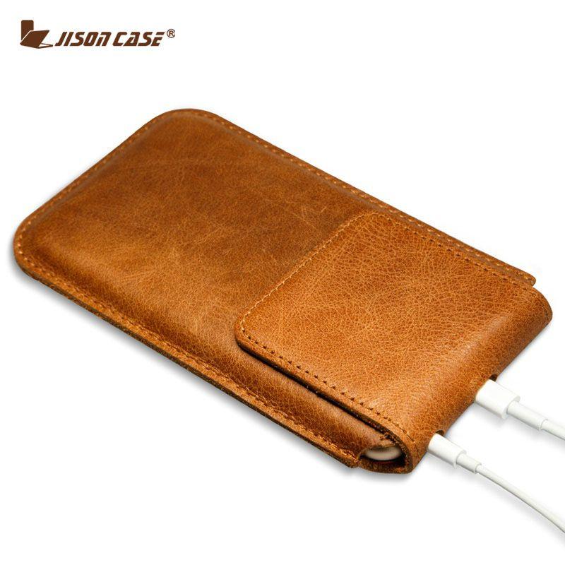 Jisoncase Véritable En Cuir Coque Pour iPhone 6 s Plus Cas Manches Couverture pour iPhone 6 plus Sac Fermeture Magnétique Poche sac 5.5 pouce