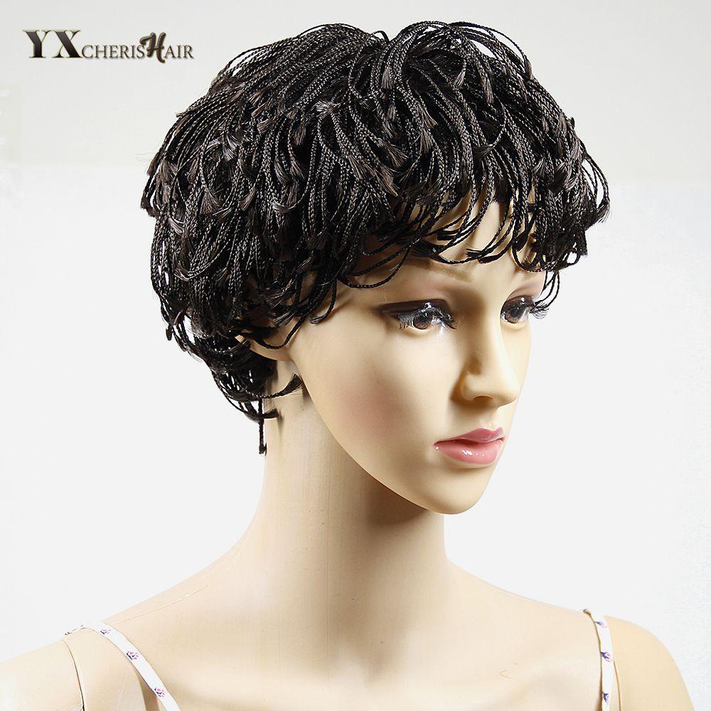 Yxcherishair синтетические афроамериканца короткие плетеные Искусственные парики для черный Для женщин парик крышки нет Синтетические волосы н...
