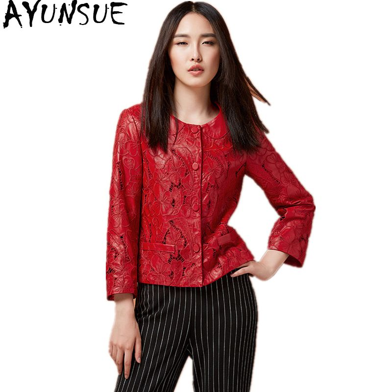 AYUNSUE 2018 Fashion Women Genuine Leather Jacket Hollow Out Natural Sheepskin Coat For Women Red Real Leather Jackets WYQ1216