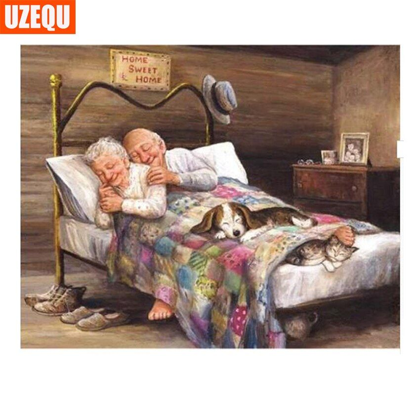 UzeQu 3D Diamond Embroidery People Old Couple 5D DIY Diamond Painting Cross Stitch Full Square Mosaic Patterns Home Decoration