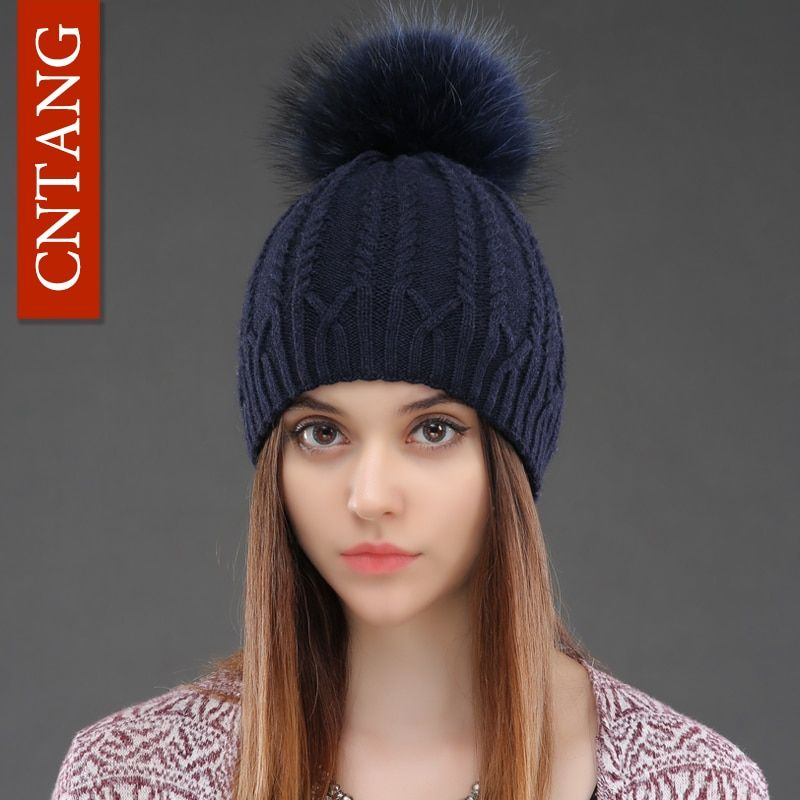 Women Double <font><b>Deck</b></font> Knitted Wool Hat Winter Natural Raccoon Fur Warm Caps Female Pom Pom Hats Ladies Fashion Skullies Beanies Cap