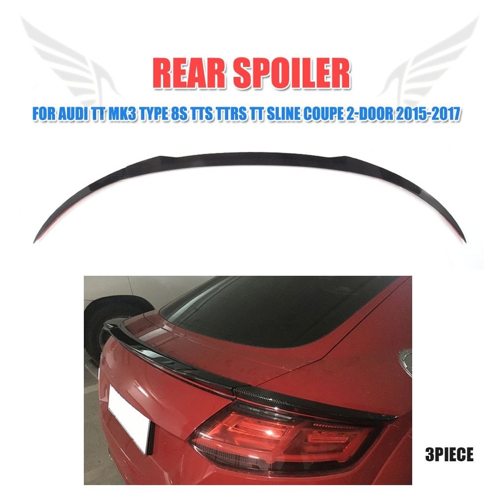 3PCS Carbon Fiber Rear Trunk Spoiler Wing Lip Sticker for Audi TT MK3 Type 8S TTS TTRS TT SLINE Coupe 2-Door 15-17 FRP Unpainted