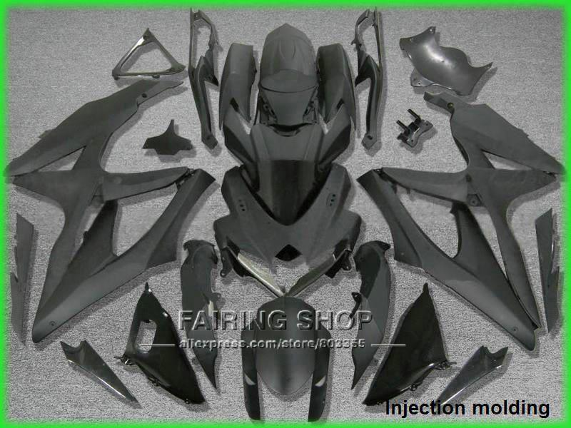 Injection mold free customize fairing kit for suzuki gsxr 600 750 2008 2009 2010 matte black fairings gsxr750 08 09 10 nm53