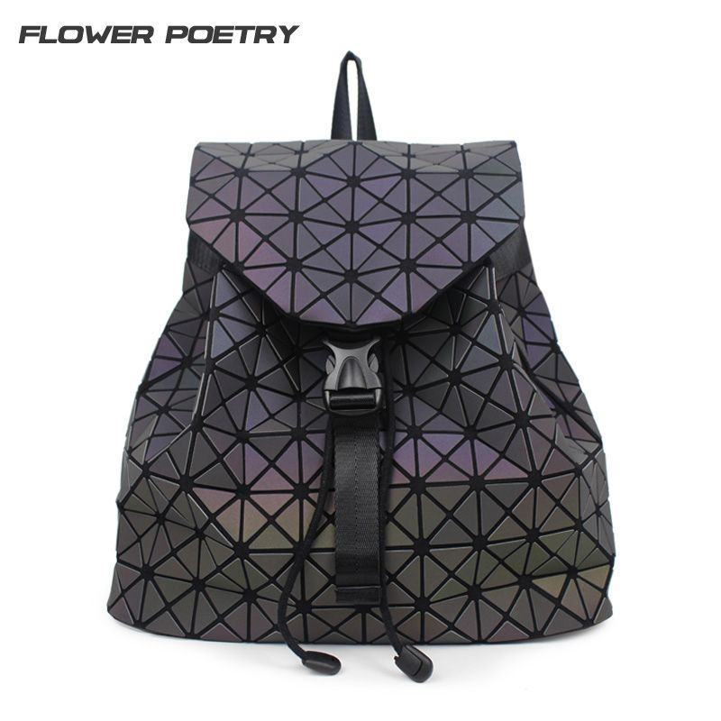 Women Backpack Diamond Lattice Geometry Quilted School Bag Backpacks For Teenage Girl Luminous School Bags Holographic Mochila