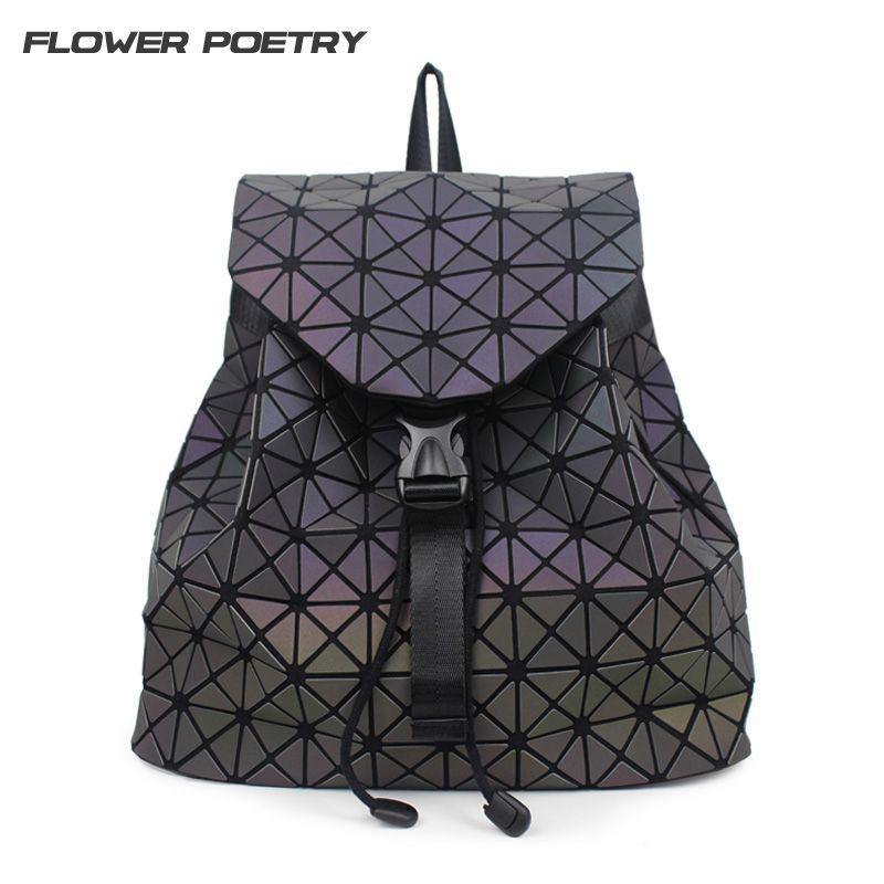 Women Backpack Diamond Lattice Geometry Quilted School Bag Backpacks For Teenage Girl <font><b>Luminous</b></font> School Bags Holographic Mochila