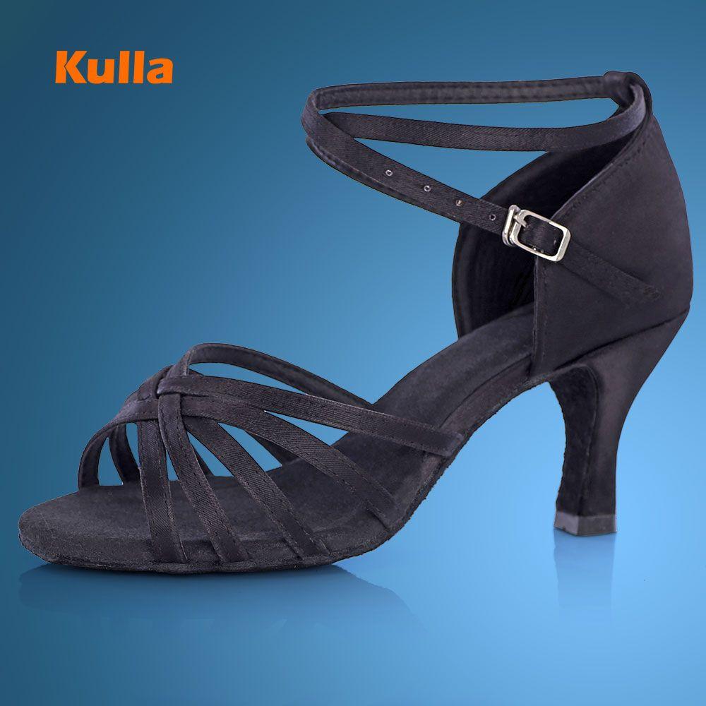 KULLA черный вырезы 5 см 7 см каблук бальные сальса танго танцевальная обувь женщины танцуют обувь высокого каблуке взрослых мягкая подошва L12