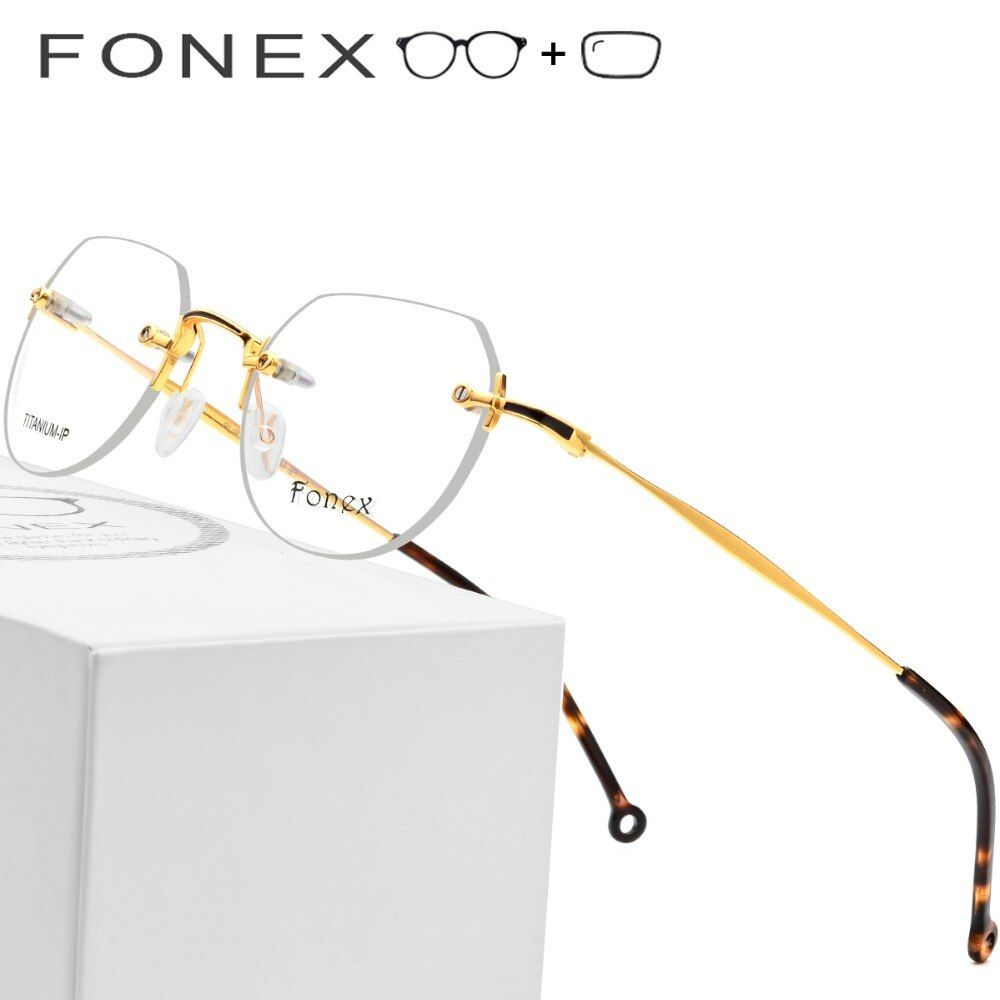 Pure Titanium Rimless Prescription Glasses Men Ultralight Polygon Eyeglasses Women Myopia Optical Frame Korean Screwless Eyewear