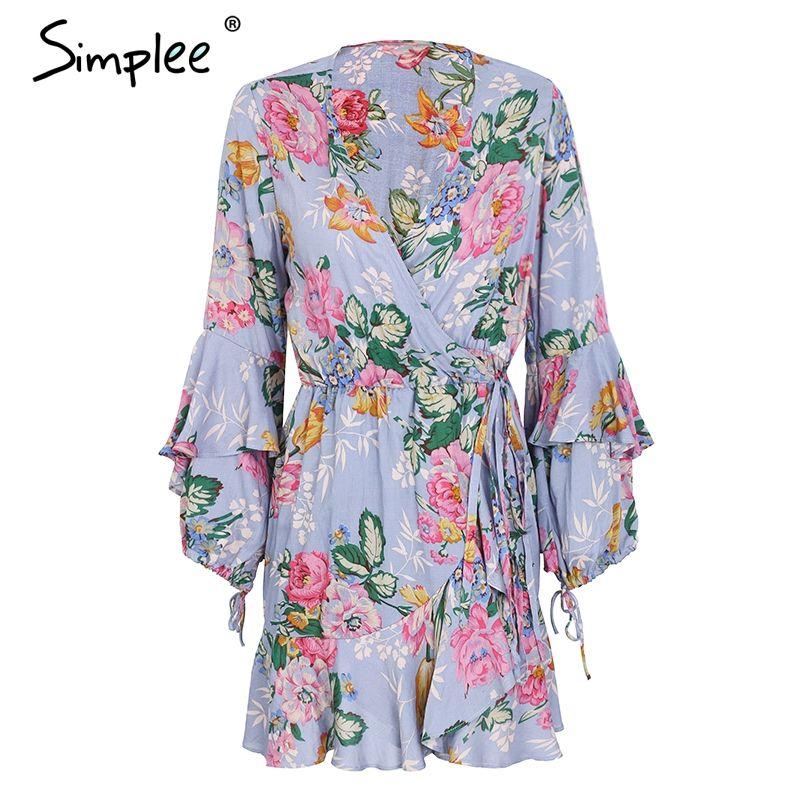 Simplee Ruffle flower print wrap summer dress women Flare sleeve mini dress casual Spring v neck short dress female vestidos