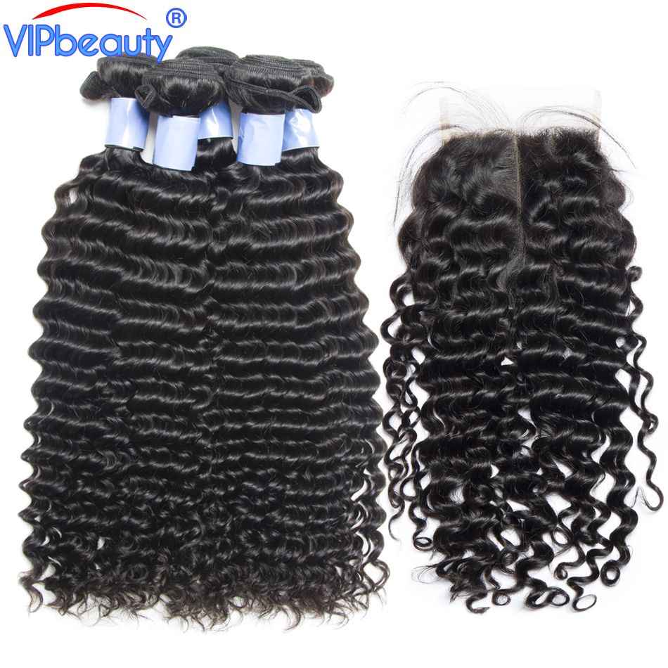 Vip beauty Peruvian deep curly hair with closure remy hair extension human hair 3 bundles with lace closure 1b
