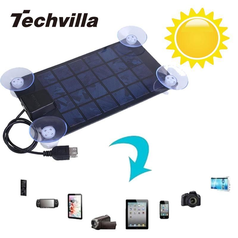 techvilla New Solar Charger Ultra Thin Solar Panel 6V 2.5w USB 2.0 Camping Travel Outdoor Portable Universal For CellPhone