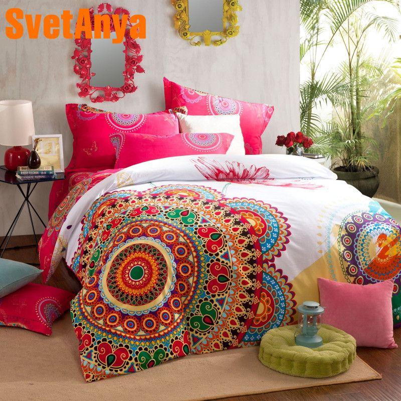 Svetanya sanded Cotton Bohemia Bedlinen Double Queen King size Sheet Pillowcase Duvet Cover Set Printed Bedding Kit