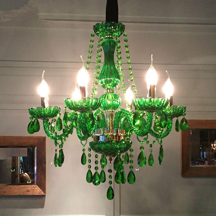 Modern led chandelier for dining room Bedroom Kitchen light Fixtures lustre de cristal teto Green Color glass chandelier