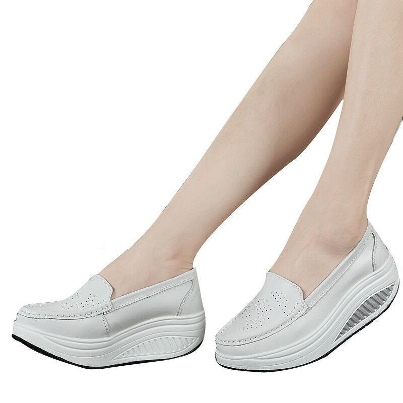 ZHENZHOU printemps véritable en cuir mère chaussures décontractées femme swing chaussures blanc infirmière chaussures antidérapant grande taille plate-forme