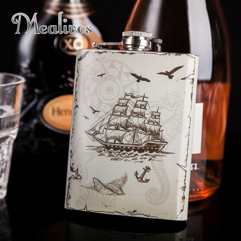 Mealivos mode style nautique fiole 8 oz 304 # acier inoxydable hanche fiole drinkware alcool liqueur whisky bouteille cadeaux vin pot
