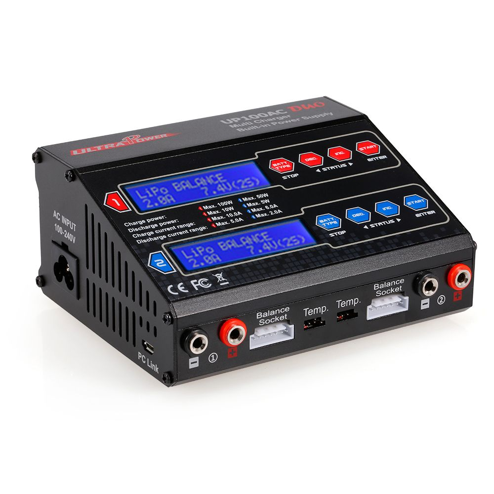 RC Power UP100AC DUO 100W Cyclic Charging/discharging LiIo/LiPo/LiFe/NiMH/NiCD Battery Balance Charger Discharger for RC Dron