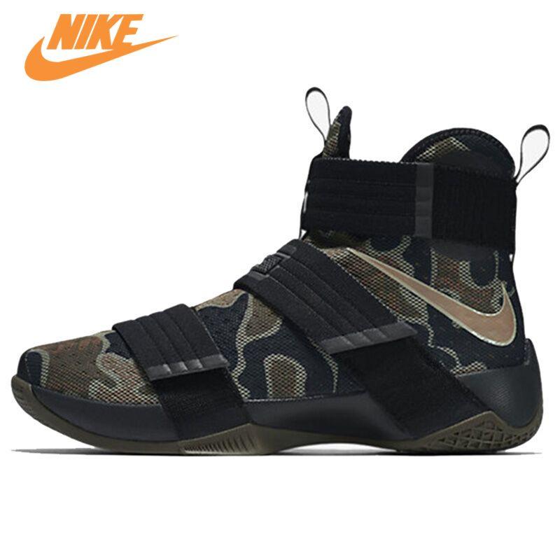 Nike Оригинальный LEBRON SOLDIER 10 Для мужчин прохладный камуфляж Баскетбольные кеды Спортивная обувь кроссовки